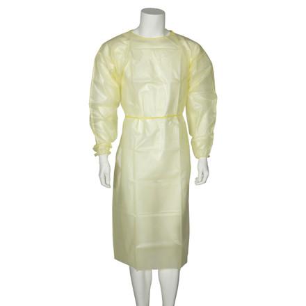 UDSOLGT Beskyttelseskittel, Abena, med jersey manchet, usteril, gul, large