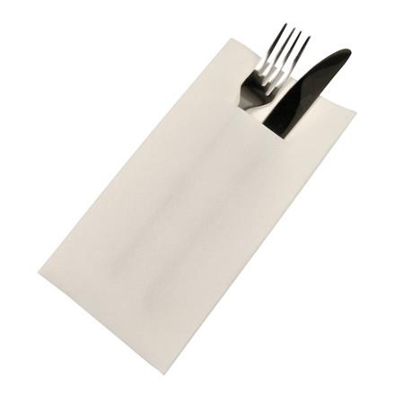 Middagsserviet, med bestiklomme, 1/8 fold, hvid, 40x40 cm
