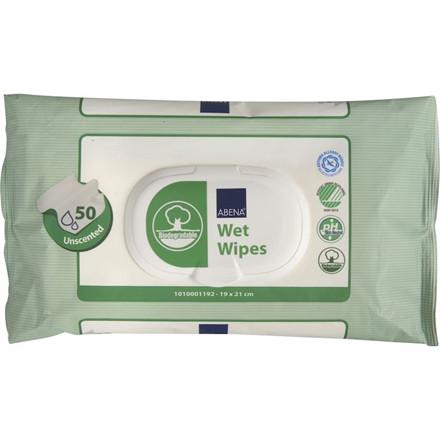 Bionedbrydelig vådserviet, Abena, 21x19cm, hvid, cellulose, flushable, med plastlåg, engangs