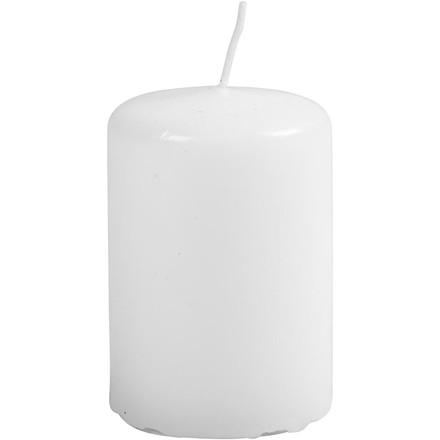 Bloklys diameter 4 cm højde 6 cm hvid - 12 stk.