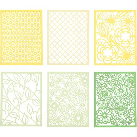 Blondekarton i blok, A6 104x146 mm, 200 g, grøn, lys grøn, gul, lys gul, 1stk.