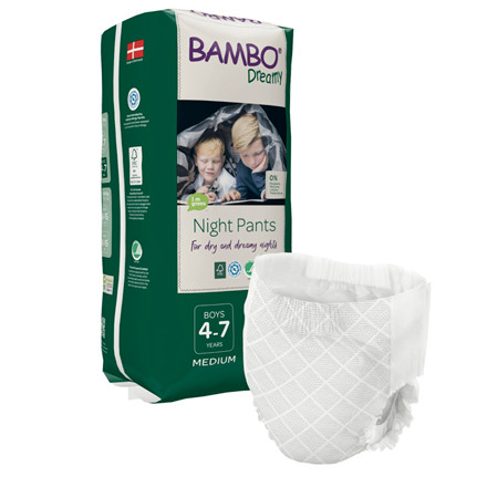 Børneble, bukseble, Bambo Dreamy Night Pants, hvid, Dreng, 4-7 år