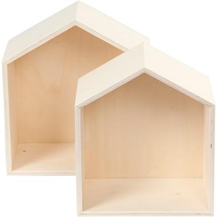Bogkasse hus i 2 forskellige størrelser   2 stk.