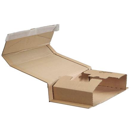 Bogpack æske - med limlukning, 270 x 190 x 10-80 mm, brun