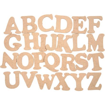 Bogstaver, A-Z, H: 4 cm, tykkelse 2,5 mm, MDF, 26stk.