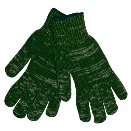 Bomuld/Polyester Handske - Grøn uden plast dotter med lyca elastik - Størrelse 10