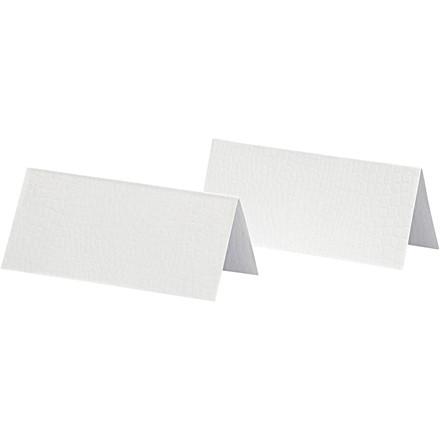 Bordkort str. 9 x 4 cm 250 gram hvid - 25 stk.