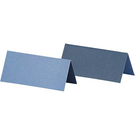 Bordkort, str. 9x4 cm, 250 g, lys blå/mørk blå, 25stk.