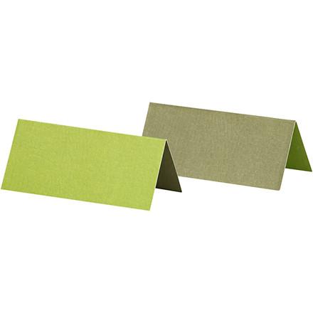 Bordkort størrelse 9 x 4 cm 250 gram mørk grøn/lime - 25 stk.