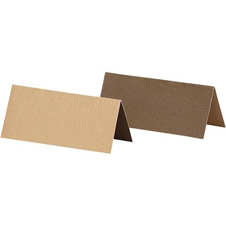 Bordkort, str. 9x4 cm, 250 g, sand/brun, 25stk.