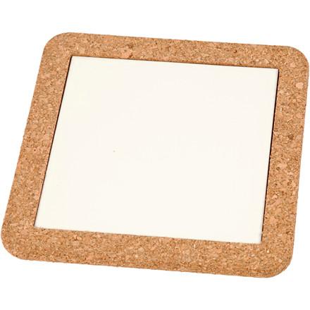 Bordskåner med korkramme, udv. mål 15,5x15,5x1 cm, indv. mål 11x11x0,5 cm, hvid, 2stk.