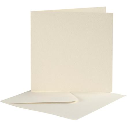 Brevkort størrelse 12,5 x 12,5 cm kuvert størrelse 13,5 x 13,5 cm off-white - 10 sæt