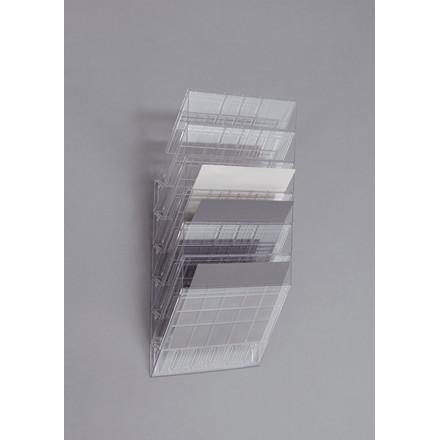 Flexiboxx Brochureholder A4 - Klar med 6 rum liggende til væg