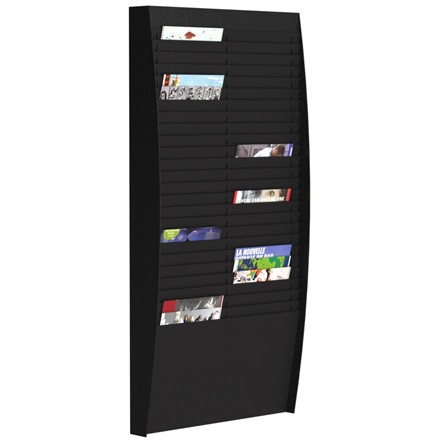 Brochureholder væg Paperflow A4 sort 50 lommer