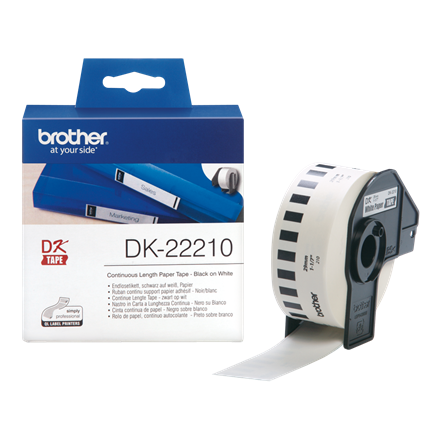 Brother DK22210 - Labels 29 mm sort på hvid papirtape