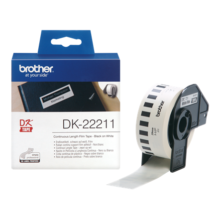Brother DK22211  - Label 29 mm sort på hvid filmtape