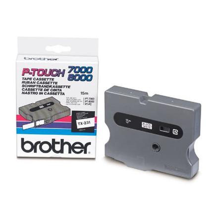Brother TX231 - Labeltape 12 mm sort på hvid