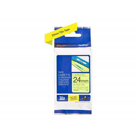 Brother TZe tape 24mmx8m black/neon yellow
