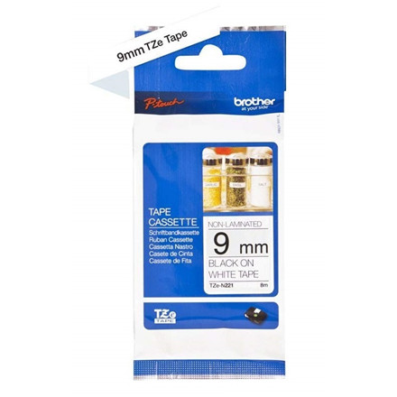 Brother TZe tape 9mmx8m non laminated black/white