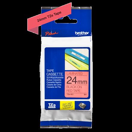 Brother TZe451 - Labeltape 24 mm sort på rød lamineret