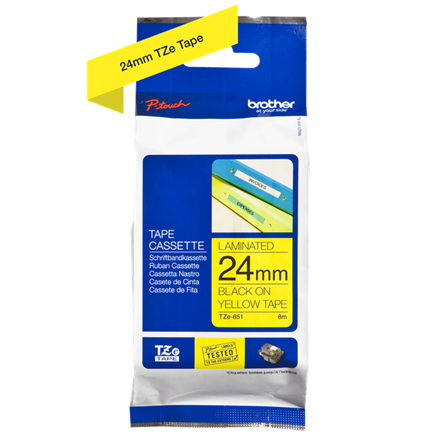 Brother TZe651 - Labeltape 24 mm sort på gul lamineret