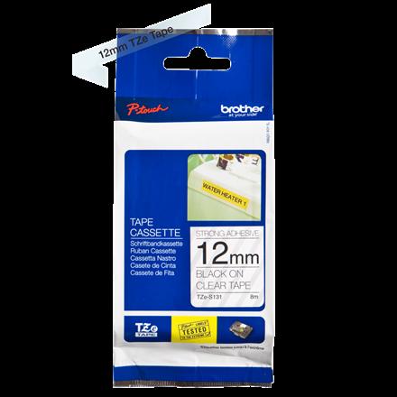 Brother TZeS131 - Labeltape 12 mm sort på klar stærk klæb