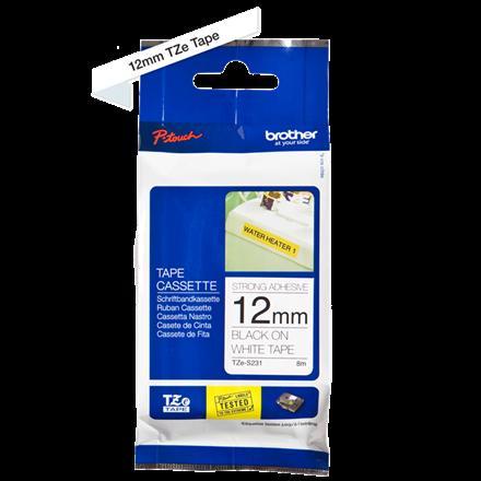 Brother TZeS231 - Labeltape 12 mm sort på hvid stærk klæb