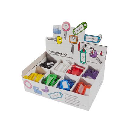 Nøgleringe med s-krog i flere farver i display box - 200 stk