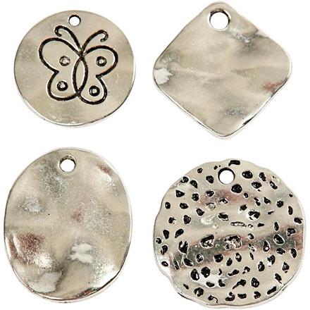Charms med øje, dia. 21-28 mm, hulstr. 2-3 mm, antik sølv, plader, 40ass.