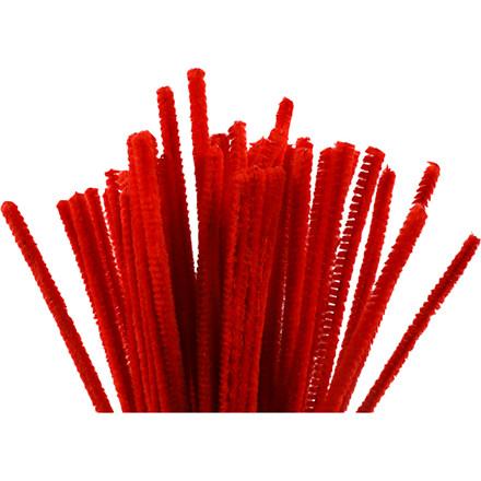 Chenille tykkelse 6 mm længde 30 cm rød - 50 stk.