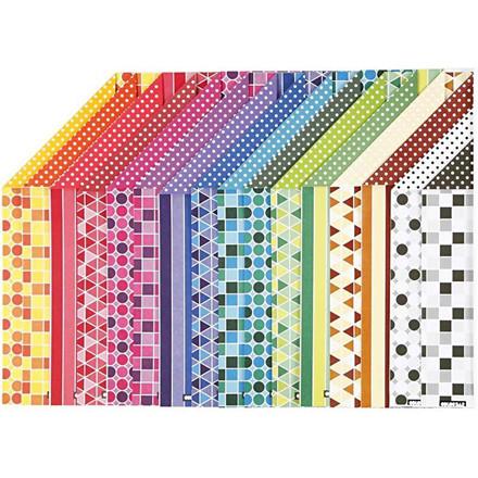 Color Bar rivepapir, A4 21x30 cm, 100 g, mønstret papir, 16ass. ark