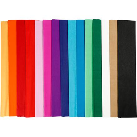 Crepepapir sæt med assorterede farver 50 x 250 cm - 60 læg