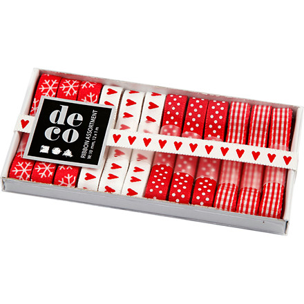 Dekorationsbånd rød/hvid harmoni, bredde 10 mm - 12 x 1 meter