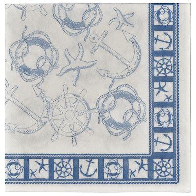 Del Mar serviet, 1/4 fold, design, maritim, airlaid, 40cm x 40cm