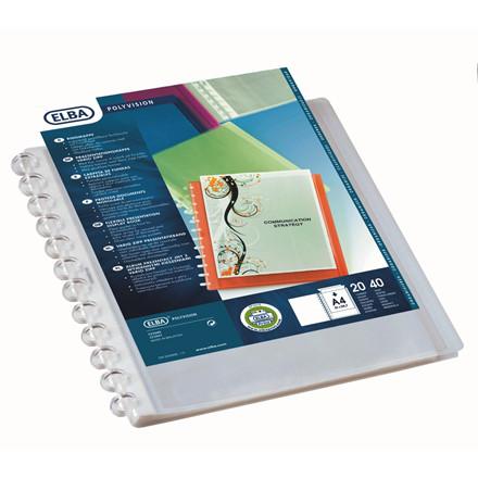 Demonstrationsmappe A4 ELBA med forside og 20 lommer - Transparent