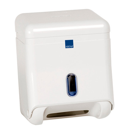 Dispenser, Abena, til toiletpapir i ark, hvid, mini,