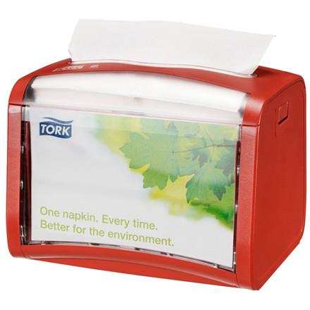 Dispenser til servietter, Tork, rød, plast, 15,50cm x 20,10cm
