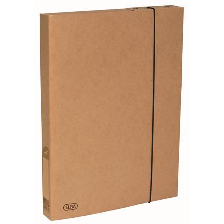 ELBA A4 dokumentboks med elastik i genanvendt karton - natur