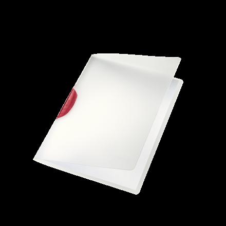 Dokumentmappe A4 Leitz Color Clip mat transparent med rød klemryg - 41750025