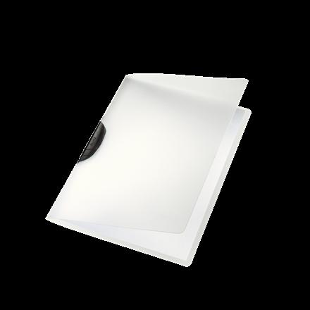 Dokumentmappe A4 Leitz Color Clip mat transparent med sort klemryg - 417500195