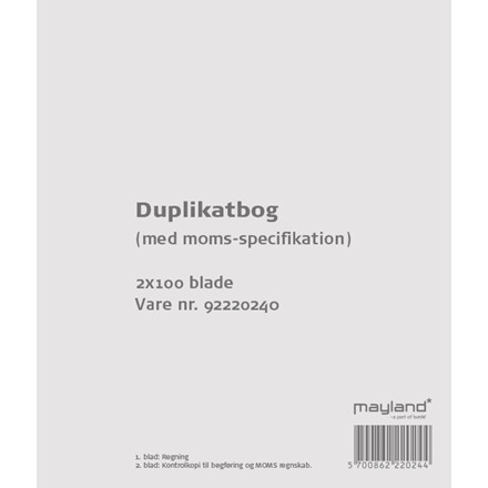 Duplikatbog med moms specifikation 126 x 148 mm 92220240 - 2 x 100 blade