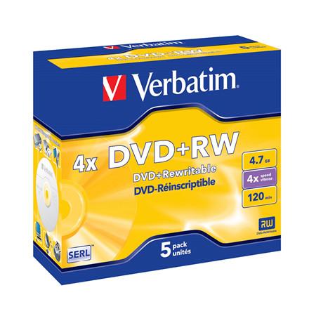 DVD+RW Verbatim 4,7GB 4X Jewelcase 5stk/pak 43229