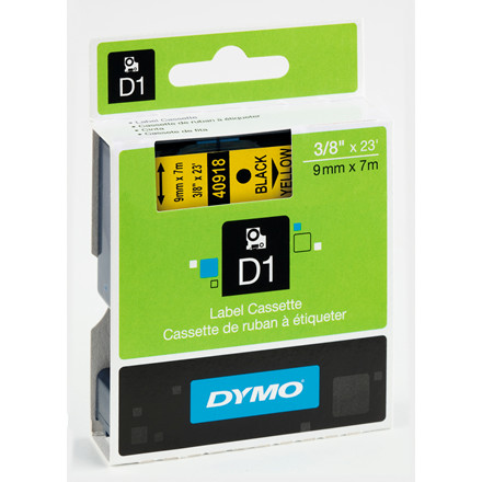 DYMO D1 40918 - Labeltape 9 mm sort på gul