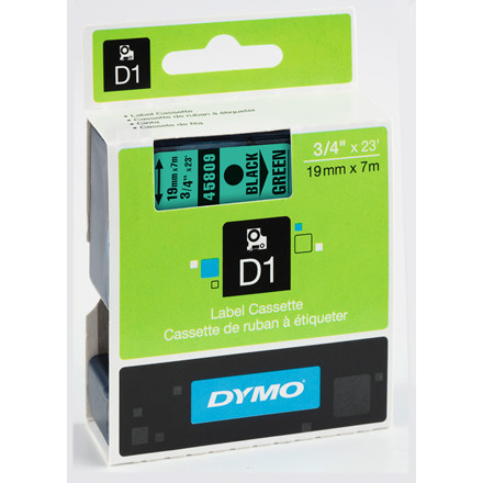 DYMO D1 45809 - Label tape 19 mm sort på grøn
