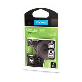 Dymo D1 permanent nylon tape 12mmx3,5m black/white