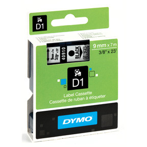 Dymo D1 tape 9mmx7m black/clear