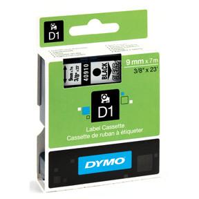 Dymo D1 tape 9mmx7m black/clear