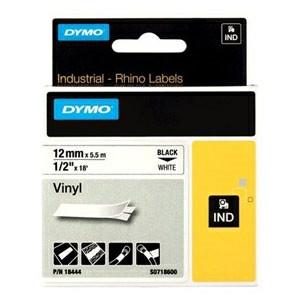 Dymo Rhino tape 12mmx5,5m vinyl black/white