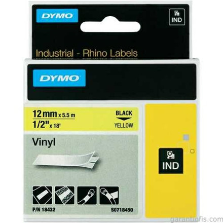 Dymo Rhino tape 12mmx5,5m vinyl black/yellow