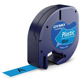 Dymo label LetraTAG S0721670 - 12 mm sort på blå